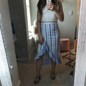 Romeo and Juliet Blue and White Striped Midi Skirt